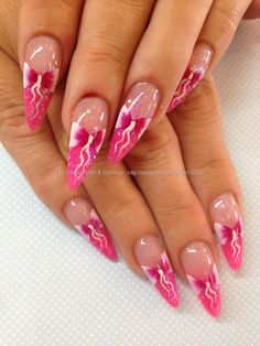 Pink stilettos with one stroke bow nail art