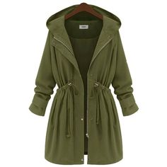 Yoins Plus Size Army Green Hooded Parka Coat-Green  XL/XXL/3XL/4XL (59 CAD) ❤ liked on Polyvore featuring outerwear, coats, jackets, tops, green, plus size parka coat, plus size parka, womens plus coats, single breasted coat e green parka