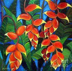 Hawaii Flowers Paintings - Orange Heliconia by Jerri Grindle Folk Art Flowers, Flower Art, Tropical Art, Tropical Flowers, Watercolor Flowers, Watercolor Paintings, Hawaii Painting, Hawaii Flowers, Art N Craft