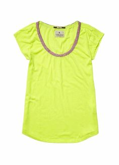 *NEW* Maison Scotch Neon Tee with Trim in Yellow