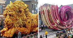 """Este domingo 4 de Septiembre el desfile anual de flores """"Corso Zundert"""" fue festejado en Holanda. Justo como el año pasado, equipos de voluntarios compitieron para ver quien diseñaba el mejor carro de flores. Aquí se puede ver la gran creatividad de la gente, pues diseñar estatuas de flores debe ser un arte nada sencillo."""