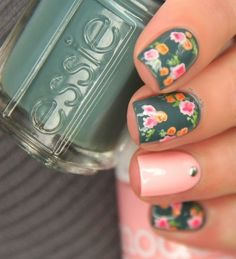 floral pink and green Nail art kind of in love with this.