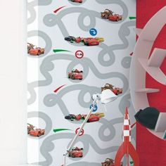 Graham & Brown Kids Red Cars Racetrack Wallpaper- at Debenhams.com