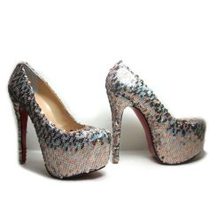 Christian Louboutin Daffodile Brodee 160mm Sequin Platform Pumps Gold Silver 3