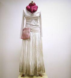 Krémová...dlouhá hedvábná sukně