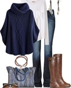 I love the dark blue sweater! The boots look good too.