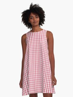 'Nantucket Red Micro Gingham Check Plaid Pattern ' A-Line Dress by podartist Pink Gingham, Gingham Check, Blue Plaid, Pink White, Tartan Plaid, Blue Camo, Hot Pink, Black White, Teal