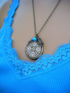 Brown Damask Glass Art Photo Pendant Owl by lucindascharms on Etsy, $16.50