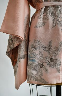 vintage pink silk haori kimono with garden print