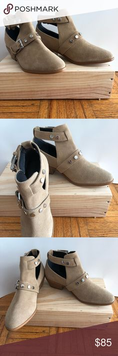 """Rebecca Minkoff Tan Abigail Booties Spring is in the air! Tan suede booties featuring studded and buckle accents. 1 1/2"""" heel. Rebecca Minkoff Shoes Ankle Boots & Booties"""