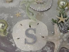 Glitter Sand Dollar Ornament Monogram Sea by SomethingBeachyStore, $12.00