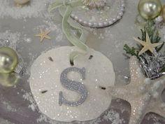 Glitter Sand Dollar Ornament Monogram Sea by SomethingBeachyStore, $12.00