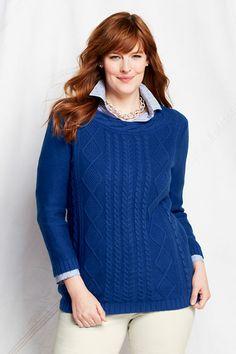 Women's 3/4-sleeve Lofty Cotton Cable Trim Crewneck from Lands' End Vibrant Cobalt 0X