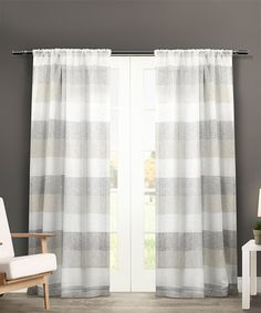 Look at this #zulilyfind! Dove Gray Surf-Side Cabana Stripe Curtain Panel - Set of Two #zulilyfinds