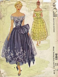 Wow! What a gorgous dress! All pieces counted, pattern is complete with instructions and in good usable condition. Size 12, bust 30, waist 25, hip 33. The envelope is in poor condition, very tattered. You will be pleased with the pattern.    The picture says it all, just a fantastic dress