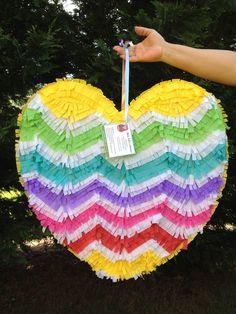 Heart Pinata.  Chevron Pattern.  Rainbow Colors.  Wedding Pinata.  Wedding Decor.  Bridal Shower Activity. Bachelorette Party.. $48.00, via Etsy.
