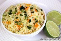 Cuscuz marroquino com vegetais Fried Rice, Food Inspiration, Fries, Recipies, Veggies, Yummy Food, Cooking, Ethnic Recipes, Vegetarian Recipes Easy