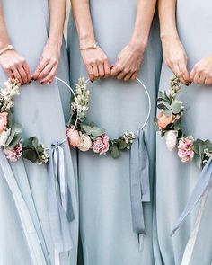 Summer Wedding Ideas hoop bouquets sabrina licata bridesmaids - These are the best hoop wedding bouquets. We're loving this unique wedding bouquet trend. Wedding Bridesmaid Bouquets, Simple Wedding Bouquets, Wedding Flower Guide, Wedding Flower Arrangements, Brides And Bridesmaids, Flower Bouquet Wedding, Wedding Centerpieces, Floral Wedding, Floral Arrangements
