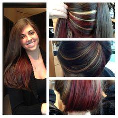 red and blonde peek a boos | Red & Blonde Highlights Peek-a-boo MY BEDT FRIEND! | Hair & Makeup