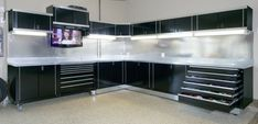 Get your garage shop in shape with garage organization and shelving. They come with garage tool storage, shelves and cabinets. Garage storage racks will give you enough space for your big items and keep them out of the way. Garage Walls, Garage Cabinets, Garage Doors, Metal Cabinets, Garage Flooring, Garage Epoxy, Tool Cabinets, Bar Cabinets, Workshop Cabinets