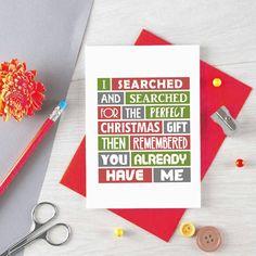 Funny Christmas Card For Wife Christmas Gift For Husband, Funny Dad Christmas Card For Mum, Girlfriend Xmas Card Boyfriend