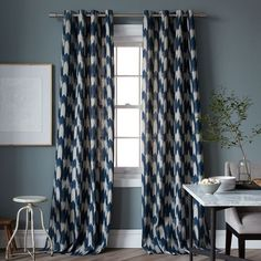 scored these for dirt cheap today at the outlet!! || Painted Ikat Print Curtain | West Elm