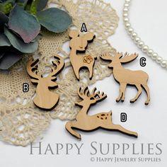 2Pcs Handmade Christmas Deer Wooden Charms / Pendants LC056