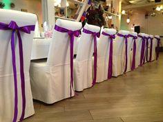 Фиолетовая свадьба. Бантики на стулья