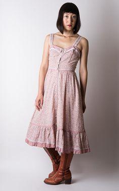 vintage 70s GUNNE SAX dusty rose polka dot by MuzukashiiOnna