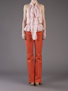 colored pant and girly shirt