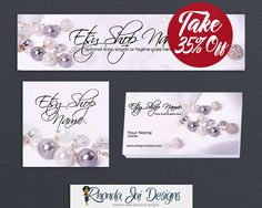 Branding Package Bundle - Etsy Shop Cover Basic Branding Set With Business Card Design - Etsy Shop Cover - Jewelry 5 by RhondaJai on Etsy