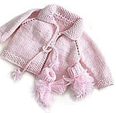 Pretty in Pink Knit Jacket and Booties pattern by Lion Brand Yarn Free Pattern: Pretty in Pink Knit Jacket and Booties Sweet and easy little jacket - A perfect quick knit gift! Cardigan Bebe, Knitted Baby Cardigan, Knitted Baby Clothes, Cardigan Rosa, Baby Knits, Pink Cardigan, Knitting For Kids, Baby Knitting Patterns, Baby Patterns