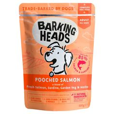 Barking Heads Pooched Salmon is slow cooked to paw-fection using only the best quality, natural ingredients. This scrumptious adult wet food recipe with added vitamins & minerals contains 85% salmon and sardine, and what's better yet, it's grain-free too! Blended with a seriously yummy combination of garden veg and herbs, this super fish supper will please your pooch. Packaging Snack, Craft Packaging, Packaging Design, Branding Design, Fish Supper, Natural Pet Food, Brit, Online Pet Store, Dog Hotel