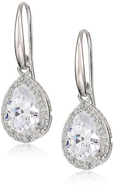 Rhodium Plated Sterling Silver Cubic Zirconia Pear-Shape Halo Dangle Earrings (6.6 cttw) *** Learn more by visiting the image link. (This is an affiliate link) #Jewelry