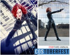 Introducing Lorenza and Cami as Natasha Romanoff, the Black Widow! Lorenza, born in Italy, is new to cosplay while Cami has been cosplaying since she was seven years old! Cami also often cosplays with her family, including her father joining her as Agent Coulson!  Photos by Walter Truocchio and Greg Dunn. http://marvelentertainment.tumblr.com/post/62835094182/let-costoberfest-2013-begin-introducing-lorenza