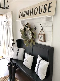 Besides tables, you can rely on benches as your house's entryway furniture. An entryway bench can be as simple as a plank of a wood, long bench. If you have had one entryway . Read Entryway Bench Ideas that are Useful and Beautiful Farmhouse Remodel, Farmhouse Style Kitchen, Modern Farmhouse Decor, Farmhouse Design, Rustic Farmhouse, Farmhouse Ideas, Farmhouse Bench, Farmhouse Entryway Table, French Farmhouse