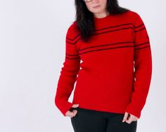 """Vintage Yamaha Sweater- Bright Red with Black Detail Stripes & Embroidered """"Yamaha"""" on Sleeve on Etsy, $35.00"""