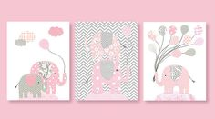 Elephant Nursery, Pink and Grey Nursery, Pink Elephant, Pink Balloons, Girl Nursery, Gray and Pink, Children's Decor, 8 x 10 Print, Cute