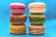 six assorted-color macaroons formation Colorful Macarons