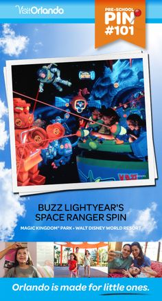 Buzz Lightyear's Space Ranger Spin - Take aim and fire lasers to defeat Zurg in this shooting-gallery game that puts you in the center of a thrilling space battle featuring a cast of toy characters based on Disney/Pixar's Toy Story. No minimum height requirement.  #VisitOrlando #WaltDisneyWorld #toystory #buzzlightyear #Orlando #Preschool #littleones #travel #familytravel