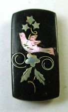 Antique Horn Button Silver & Iriedescent Shell Bird & Floral Inlay Design