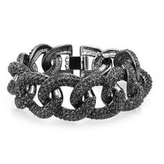 Bling Jewelry Bling Jewelry Chunky Curb Link Statement Bracelet Gun... ($30) ❤ liked on Polyvore featuring jewelry, black, gunmetal jewelry, pave jewelry, chunky jewelry, gun metal jewelry and chunk jewelry