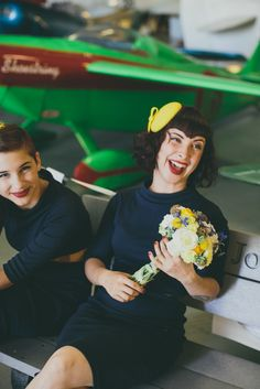 Aviation Themed Wedding: Stewardess-esque Bridesmaid Fashion