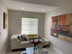 Living area with Ivory Zebra Illusion Privacy Shades by Elite Decor Miami Privacy Shades, Living Area, Illusions, Miami, Ivory, Decor, Decoration, Optical Illusions, Decorating