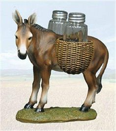 """""""At Your Service"""" Mule Salt & Pepper Shaker Set by BL Gifts Imports. $15.95. 7.5"""" longMade from hand painted polyresin with glass salt & pepper shakers. Hand wash only.. Save 36% Off!"""