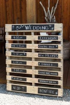 DIY pallet chalkboard rustic wedding sign / http://www.deerpearlflowers.com/chalkboard-wedding-ideas/
