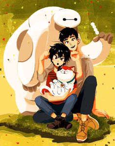 Big Hero 6 Fan Art: Hiro, Tadashi, Baymax and Mochi Best Disney Animated Movies, Disney Movies, Big Hero 6, Mochi, Gravity Falls, Pixar, Gogo Tomago, Cute Disney Drawings, Walt Disney Animation