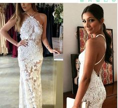 Spaghetti Straps Open Back Wedding Dress Lace Appliques Formal Reception Bridal Gown Plus Size