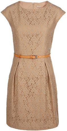 John Galliano Beige Lace Shift Dress