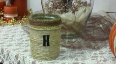 Candle holder..mason jar, Hemp rope, burlap and craft string!